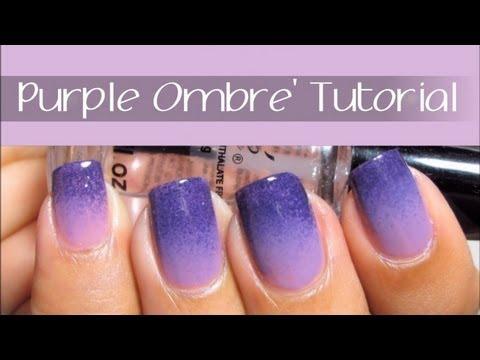 easy purple ombre nail art design
