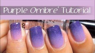 Easy Purple Ombre Nail Art Design Tutorial