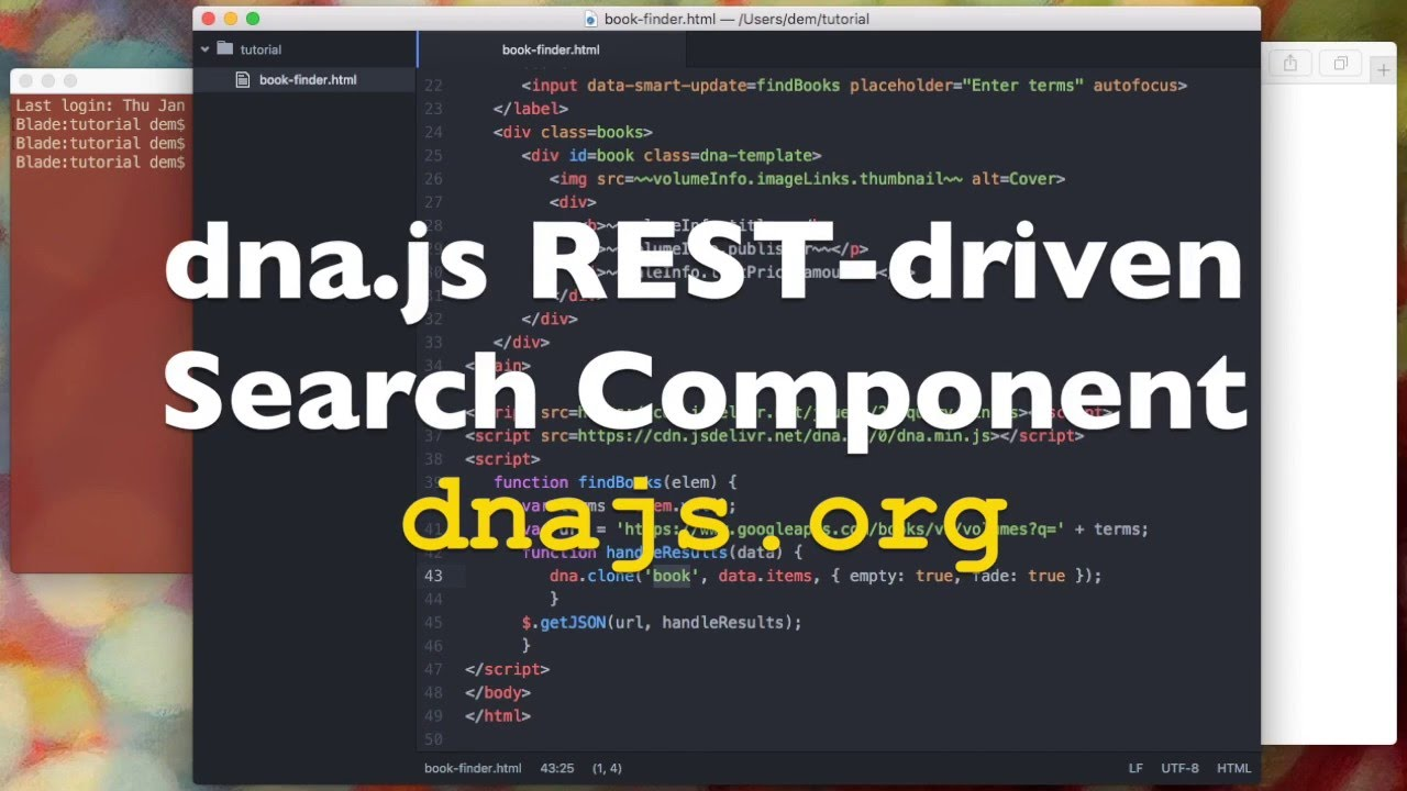 Tutorial ~~ dna.js REST-driven Search Component - YouTube
