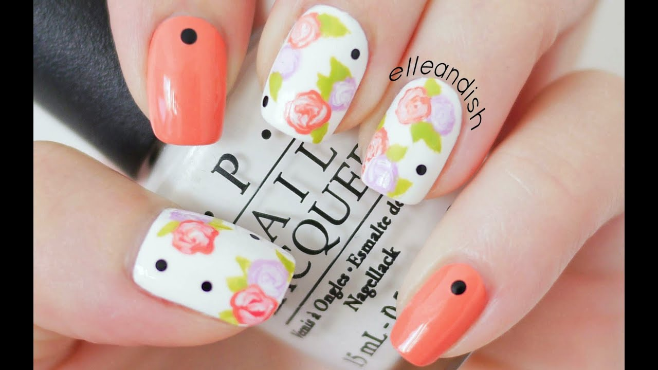 Easy Floral Nails (With a Toothpick!) - YouTube