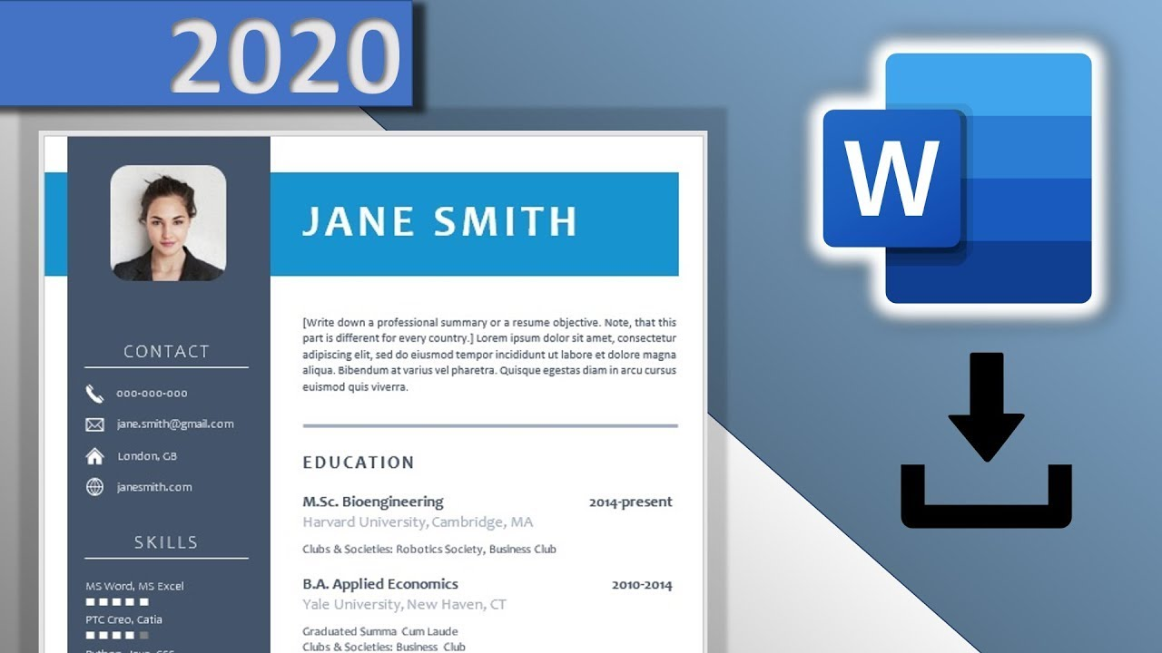 Here are steps that you can use when you set margins in microsoft word on your resume: Cv Template Word Download Free 2020 Blue Resume Design With Icons Docx Youtube