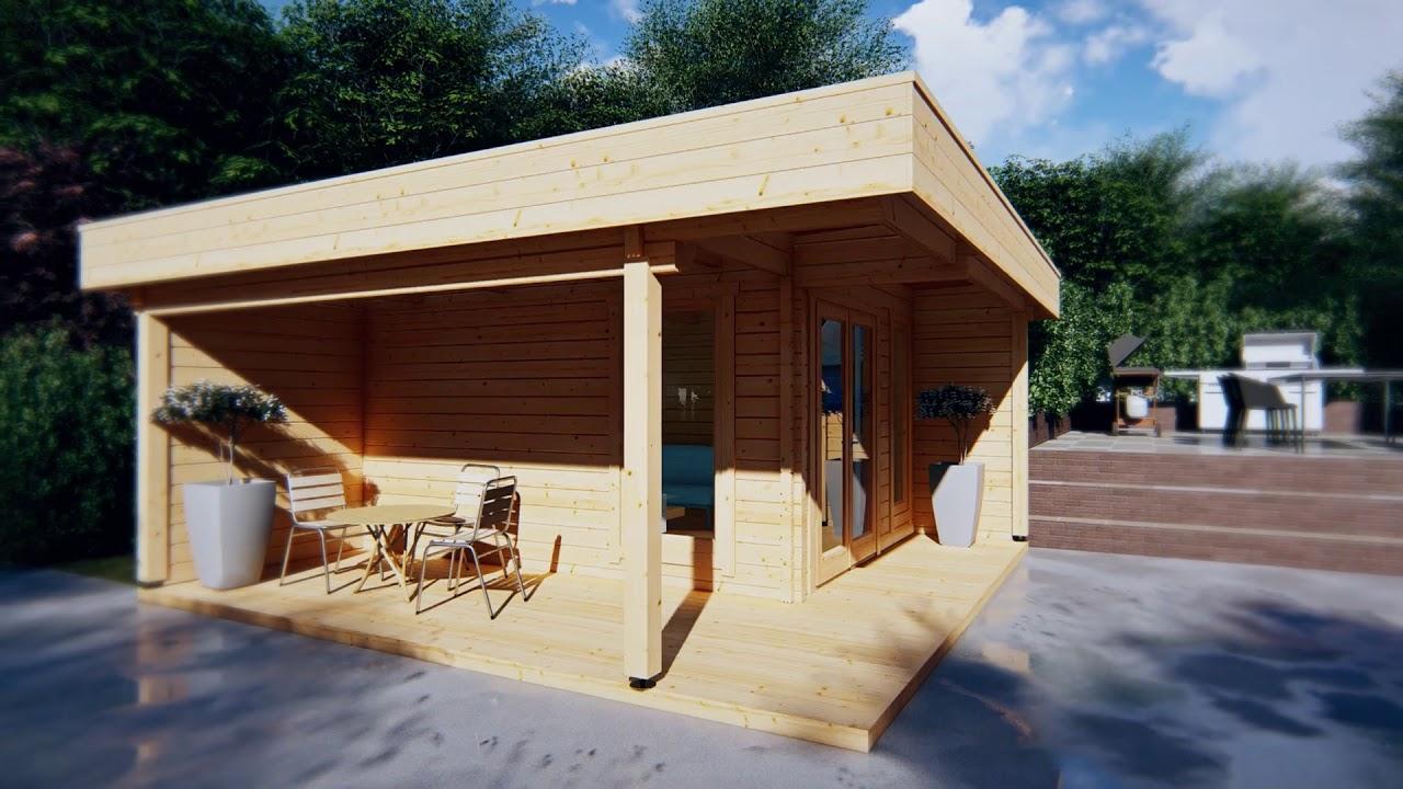 modernes gartenhaus mit terrasse hansa lounge 12m youtube. Black Bedroom Furniture Sets. Home Design Ideas