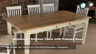 Handmade Oak Tables - Handmade Kitchen Table With Painted Base
