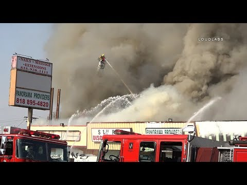 Major Emergency Fire / Panorama City   RAW FOOTAGE