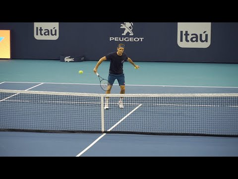 Roger Federer Practice Session (Court Level View) 60FPS HD Miami Open 2019