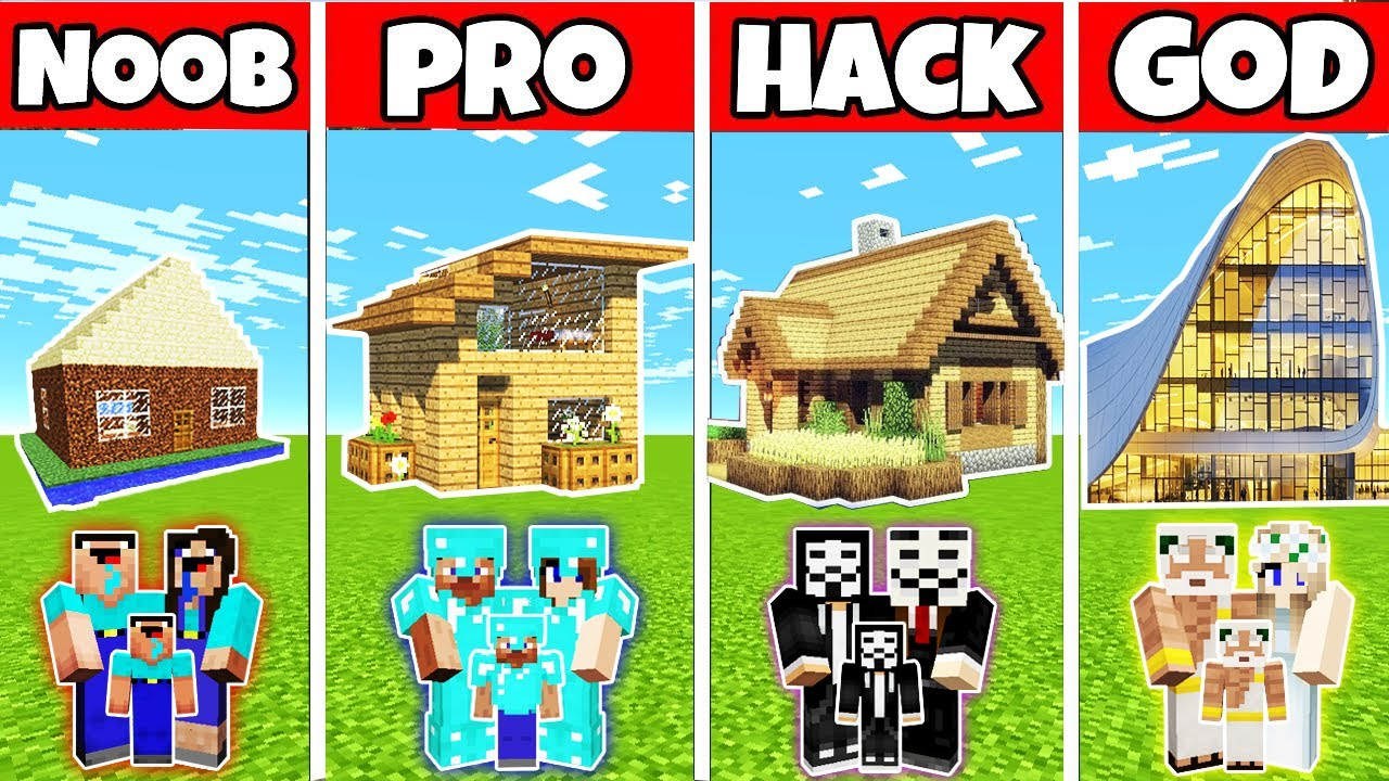 Minecraft: MODERN WOODEN HOUSE BUILD CHALLENGE - NOOB vs PRO vs HACKER vs GOD in Minecraft