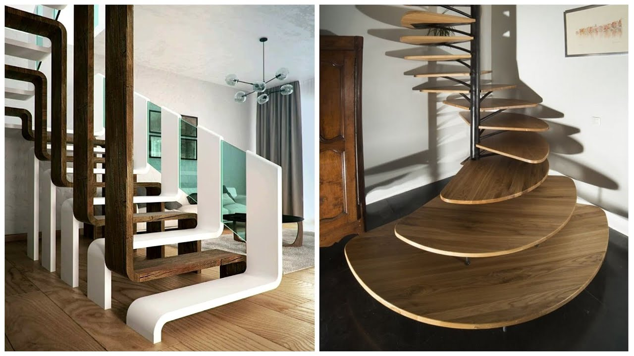 Beautiful modern stairs made of wood, glass, metal, concrete!