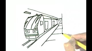 How to draw Subway train in  easy steps for children, kids, beginners