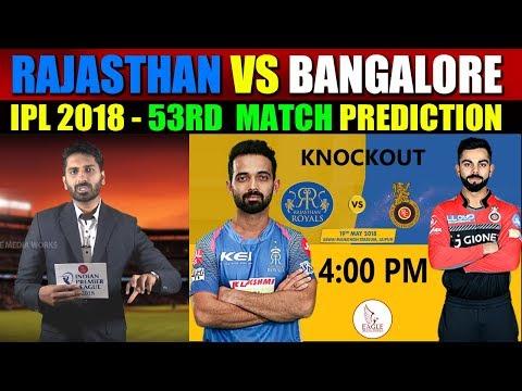 Rajasthan Royals vs Royal Challengers Bangalore, 53rd Match Prediction | Eagle Media Works