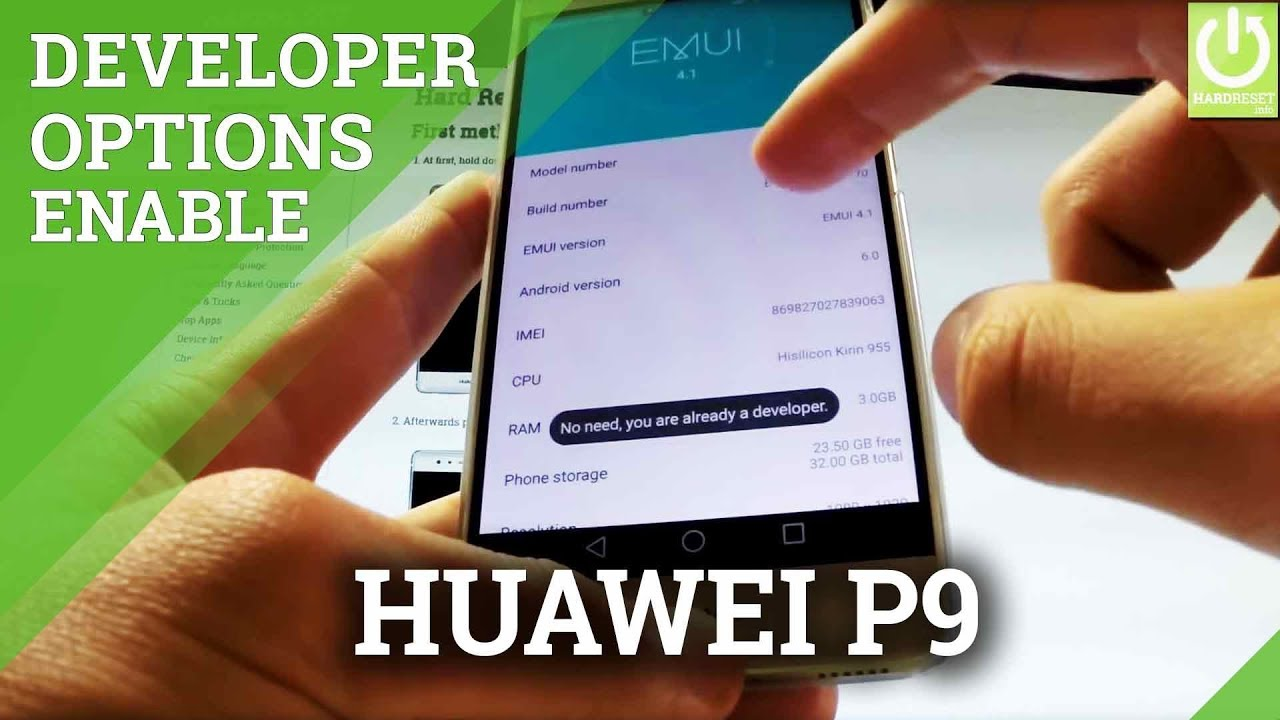 Developer Options HUAWEI P9 – Enable USB Debugging in Android