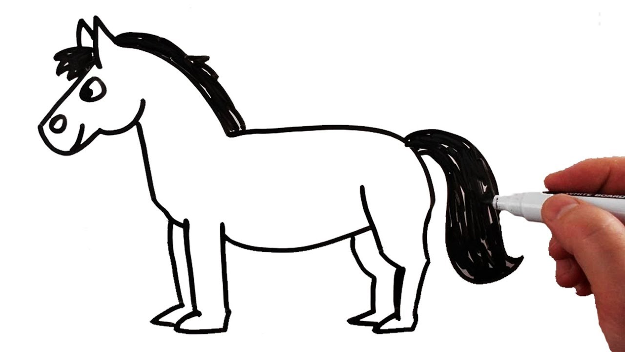 How To Draw A Horse Step By Step Very Easy For Kids / Drawing On A  Whiteboard   YouTube