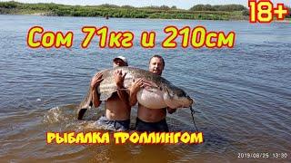 Рыбалка на СОМа троллингом(на дорожку).Трофейный СОМ. Река Припять.