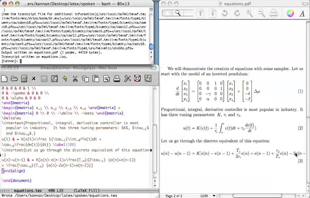 Writing Equations In Latex Interation Differenciation