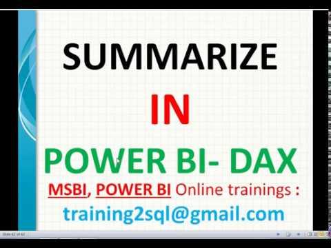 Summarize in DAX   Summarize in Power BI   DAX Summarize examples