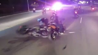 POLICE CHASE Motorcycle Messing With COPS Street Bike CRASH ACCIDENT Running From The COP Helicopter
