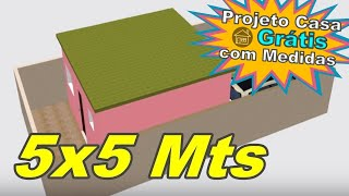 Ideia para Construir Casa Pequena Simples 5x5 em Terreno 6x12