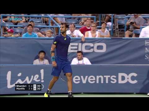 Yuki Bhambri Brilliant Shots & Match Point In Shock Gael Monfils Win - Citi Open Washington 2017