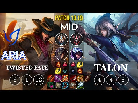 CGA Aria Twisted Fate vs Talon Mid - KR Patch 10.19