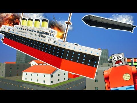 HUGE LEGO TITANIC CRASHES INTO HINDENBURG! - Brick Rigs Gameplay Challenge & Creations - Lego City