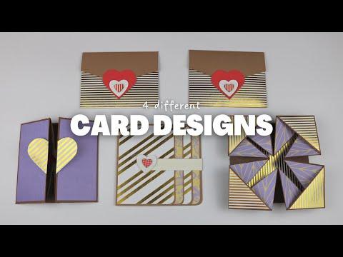 4 Different Cards for Scrapbook/Explosion Box/ Mini Album | SCRAPBOOK IDEAS