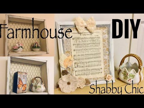 DIY FARMHOUSE BOX SHELF WITH CHICKEN WIRE | DIY SHABBY CHIC SHEET MUSIC DECOR TUTORIAL