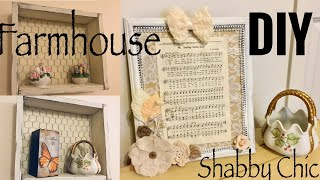 DIY FARMHOUSE BOX SHELF WITH CHICKEN WIRE | DIY SHABBY CHIC SHEET MUSIC DECOR TUTORIAL