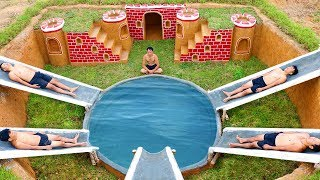 Building The Most Secret Underground House And Water Slide Around Swimming Pool Underground