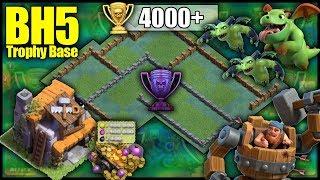 BEST UNIQUE BH5 [Builder Hall 5] 4000+ Trophy Range Base! W/ Replays - Clash Of Clans Base Build