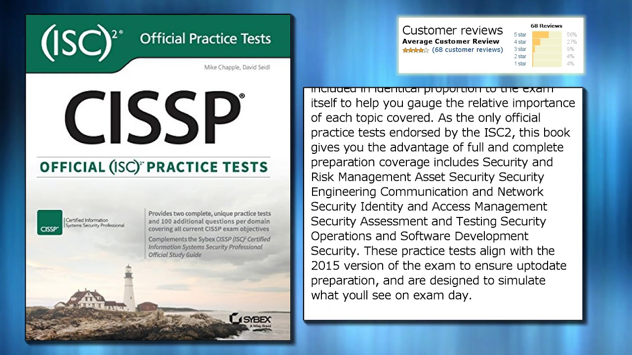 Cissp Official Isc2 Practice Tests Youtube