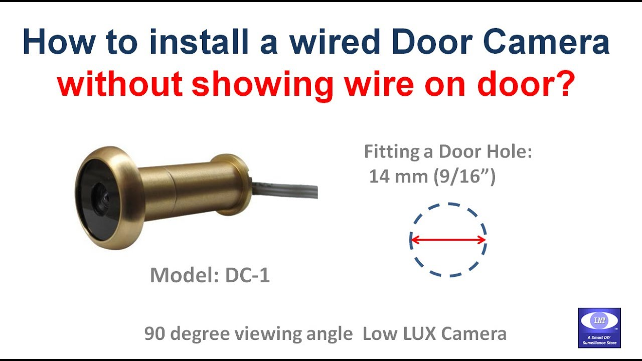 install a wired door camera showing no wire on door for 14mm door hole  [ 1280 x 720 Pixel ]