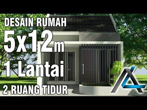 Desain rumah 5x12 meter # 1 lantai