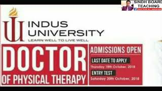 Admission Open in DPT in Indus University 2018