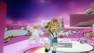 Pink fluffy unicorns dancing on rainbows roblox (dancing vid)