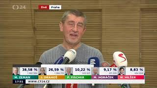 Andrej Babiš o Zemanovi po prvním kole prezidentských voleb 2018