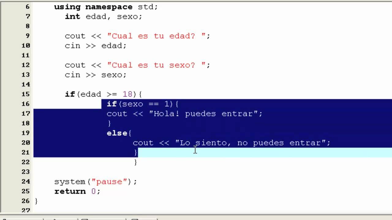 Tutorial de C++ en Español -14- Sentencias If Anidadas - YouTube