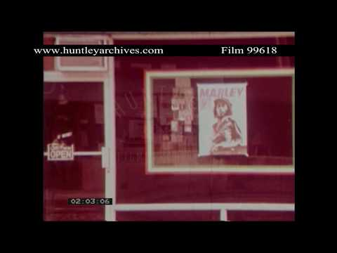 Bob Marley Poster in Music Shop Window.  Archive film 99618
