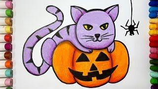 How To Draw A Cat And Pumpkin    Draw For Kids