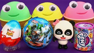 Learning Colors Ice Cream with (Baby Panda/Play Doh) for Kids | Surprise Toys, Kinder Joy