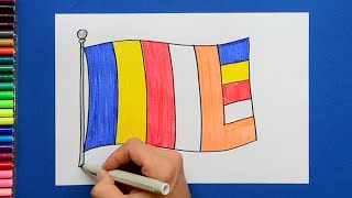 How to draw and color the Buddhist Flag