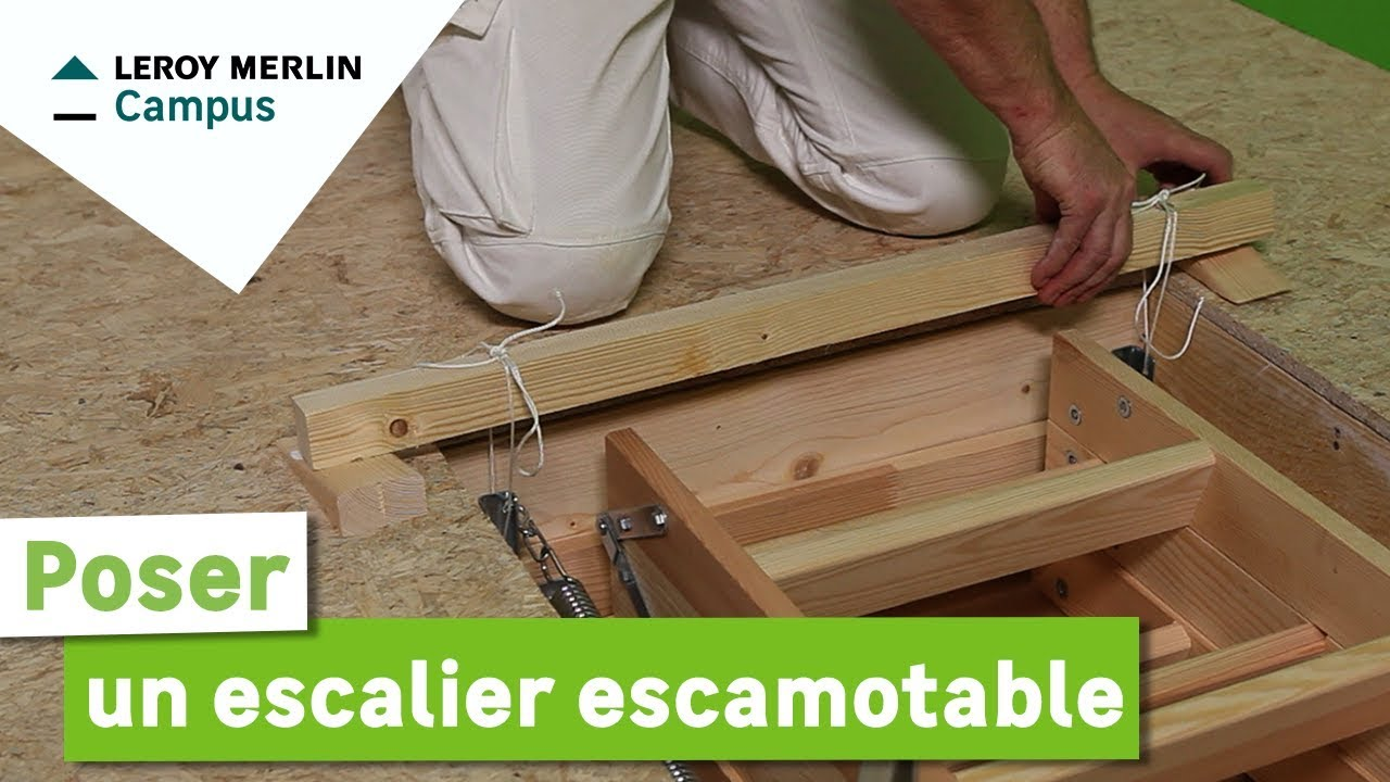 comment poser un escalier escamotable leroy merlin youtube. Black Bedroom Furniture Sets. Home Design Ideas