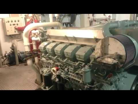 Mitsubishi Marine Diesel Engine S12R-MPTK Start Up New Engine MTS SENDA