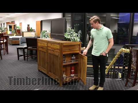 TV Bar With Built in Mini Fridge + Hidden Compartments