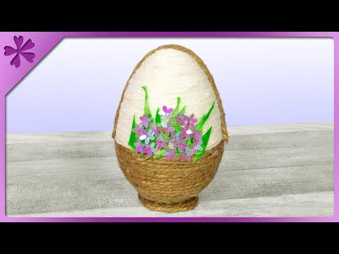 DIY Jute twine Easter egg which looks like basket with flowers 💐 (ENG Subtitles) - Speed up #581