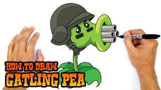 How to Draw Gatling Pea | Plants vs Zombies