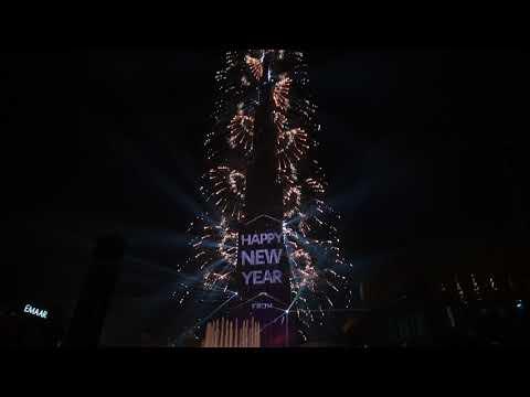 Dubai New Year's Eve 2019 Burj Khalifa Fireworks – 4k