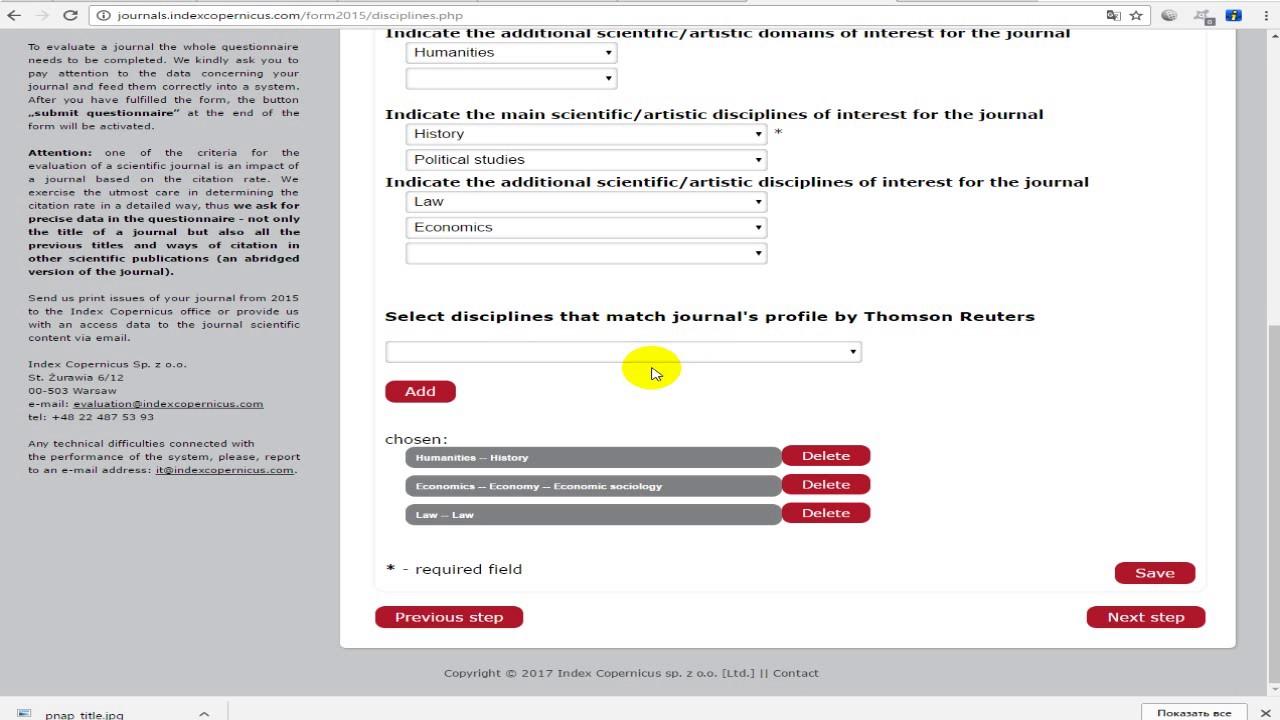 Submit journal in IndexCopernicus (ICI Journals Master List)