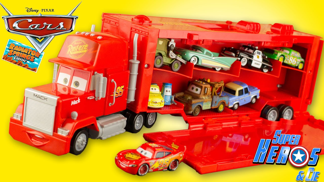disney cars mack truck camion transporteur 16 voitures flash mcqueen jouet carry case les. Black Bedroom Furniture Sets. Home Design Ideas