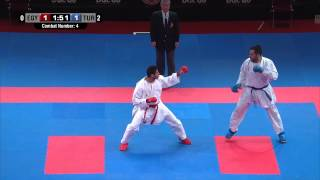 Male Team Kumite TURKEY vs EGYPT (4/5).  2014 World Karate Championships. Bronze Medal Fight