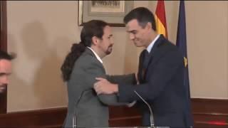 Sánchez e Iglesias comparecen en el Congreso para anunciar un preacuerdo