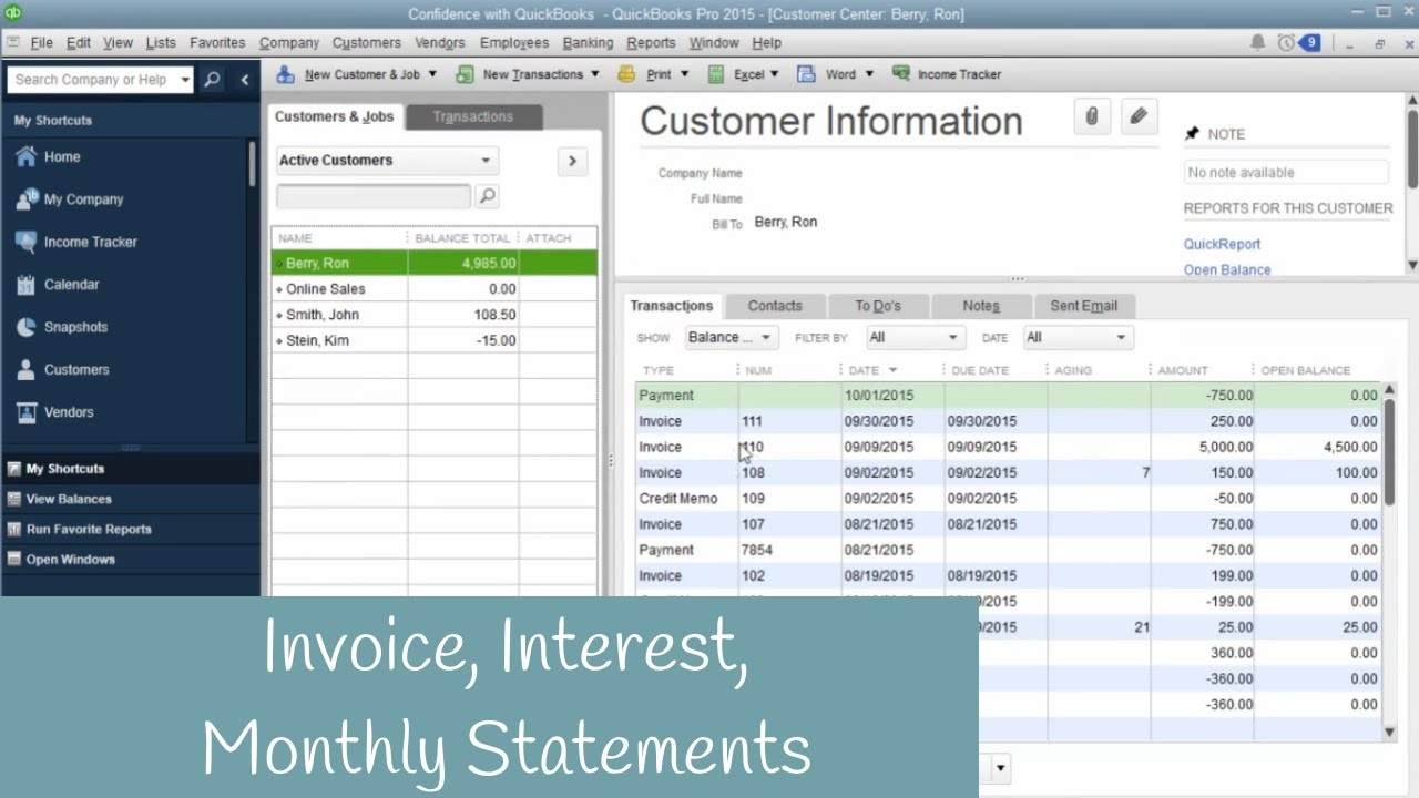 How To Create A Invoice, Charge Interest, Monthly Statement In QuickBooks    YouTube  Create Invoices